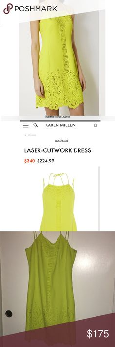 Karen Millen dress sz 10. Currently sells for $224 LASER-CUTWORK DRESS. Gravitate towards bold colours in this dress featuring intricate laser-cut detailing on a scalloped hemline. The delicate spaghetti straps highlight your shoulders, arms and back. Complete the look with strappy sandals. Fabric: Main, 100% polyester Wash Care: Machine wash Product Code: 15579 Model wears Size 10 and is 5ft 10 Karen Millen Dresses Mini