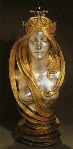 mermaid✯✯✯ Nature by  Alphonse Mucha  Start Date: 1899  Completion Date:1900  Style: Art Nouveau (Modern)  Genre: sculpture  Gallery: Mucha Museum: