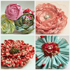 ♥ Fabric flowers. Can add pizzazz to any outfit/top/dress. Sew it on, stick it to a pin. Presto!