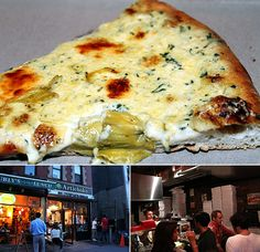 Artichoke Basille's Pizza & Bar – New York, NY artichoke hearts, spinach… Artichoke Pizza Nyc, Authentic Pizza Recipe, Ny Food, New York Pizza, Pizza Planet, Good Food, Yummy Food, Perfect Food, Pizza Recipes