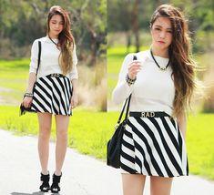 Chloe T - Somedays' Knit, Romwe Stripe Skirt, Romwe Skull Neck;Ace - Black & White