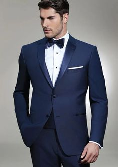 Tuxedo wedding groomsmen - Proud to offer this luxurious navy tuxedo with notch, full satin lapel Ike Behar is one of our favorite tuxedo designers Navy Groom, Groom And Groomsmen Attire, Tuxedo Shop, Tuxedo For Men, Men's Tuxedo Wedding, Men Wedding Suits, Prom Tuxedo, Wedding Groom, Wedding Attire