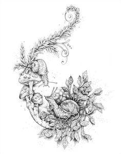 Add crystals and I have all three snail crystal and mushroom tat - drawing - Mushroom Drawing, Mushroom Art, Nature Tattoos, Body Art Tattoos, Tatoos, Tattoo Sketches, Tattoo Drawings, Snail Tattoo, Mushroom Tattoos