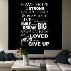 Have Hope Never Give Up Wall Art Sticker Room Lounge Quote Decal Mural Stencil Transfer Wall Stickers