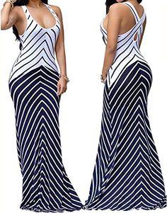 shekiss girls dress women's Sleeveless alluring dress Maxi alluring Stripes attire