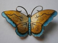 "HROAR PRYDZ NORWAY STERLING SILVER ENAMEL 2"" BUTTERFLY PIN VINTAGE BROOCH ""GREAT"