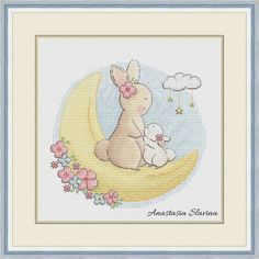 Bunny mother with baby cross stitch pattern To the Moon love parents children Cross Stitch Letters, Cross Stitch Boards, Simple Cross Stitch, Modern Cross Stitch, Baby Cross Stitch Patterns, Cross Stitch Baby, Cross Stitch Designs, Crochet Baby Mobiles, Baby Painting