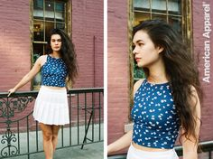 Ariel wears the Floral Print Sleeveless Crop Top + Tennis Skirt. #AmericanApparel