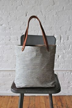 1950s era Ticking Fabric Tote Bag