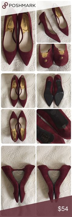 MICHAEL Kors Merlot kitten heels ❤️MICHAEL Michael Kors Suede kitten heels, merlot/burgundy. Sz 9. Like new, Worn once. Leather upper, soles are rubber for great traction- won't be slipping in these little gold tone 'button' on back of each shoe. Perfect for fall! ❌trades MICHAEL Michael Kors Shoes