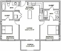 Details about House — 2 Bedroom 2 Bath — 864 sq ft — PDF Floor Plan — Model – Finance tips, saving money, budgeting planner Small House Floor Plans, Cottage Floor Plans, House Plans One Story, Ranch House Plans, Craftsman House Plans, Modern House Plans, Small House Plans Under 1000 Sq Ft, Home Design, Tiny House Design