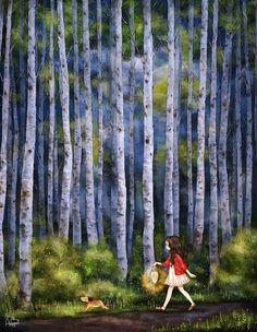 코스모스가 핀 언덕 너머 꼬불꼬불한 오솔길을 지나 흰 자작나무 숲.  어두운 산길을 램프 하나에 의지한 채 걷고 또 걸어요.