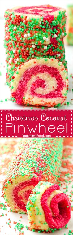 Christmas Coconut Pinwheel No Bake - is a super cute and festive no bake dessert! It is an easy recipe for holiday parties! (recipe for sugar cookies life) Christmas Desserts, Christmas Treats, Christmas Goodies, Old Recipes, Baking Recipes, Easy Recipes, Greek Yogurt Cookies, No Bake Desserts, Dessert Recipes