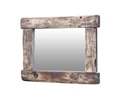 Rustic mirror in poplar wood.