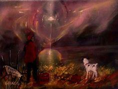 HUBBARD MAN JACK DOG UFO MAURY ISLAND INCIDENT PUGET SOUND PAINTING BLACKSUN13R