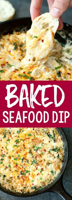 We're obsessed with this skillet baked seafood dip with crab, shrimp and veggies. It'll be the first dish licked clean at your next party or potluck! Seafood Appetizers Seafood Appetizers Appetizers Appetizers for a crowd Appetizers parties Seafood Party, Seafood Dip, Seafood Bake, Seafood Appetizers, Seafood Dinner, Appetizer Dips, Appetizers For Party, Seafood Recipes, Appetizer Recipes