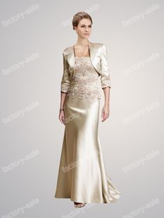 2014 DHgate New Style Discount Strapless Champagne Satin Appliques Sheath Bolero  Mother of the Bride Dresses cdf5a3086ef0