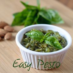 What better way to use up all the basil in your garden than with homemade pesto? This recipe used the more affordable nut, almonds, instead of pine nuts. Easy Pesto #pesto #almonds #basil