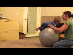How to play with your baby on an exercise ball. Ideas for older babies and for younger babies who are working on tummy time. From www.MamaOT.com.