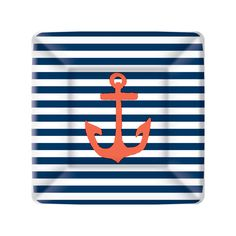 Yacht Club Navy and White Stripe with Red Anchor Dessert Paper Plates