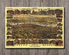 Portland Oregon City Vintage Digital Restored Map from 1890, Landscape Cityscape Old Buildings Big Printable Print Poster 28x40