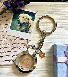 Medallón de memoria de impresión de la pata llavero - Personalizado grabado Pérdida de mascotas relicario guardapelo perro monumento conmemorativo