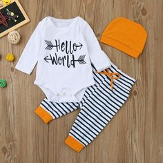 Hello World 3 Piece Outfit – Wild Baby Boutique Baby Outfits, Trendy Outfits, Summer Outfits, Cute Baby Clothes, Clothes For Sale, Long Sleeve Romper, Long Sleeve Tops, Baby Boys, Twin Babies