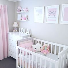 White, grey and pink - girl's nursery