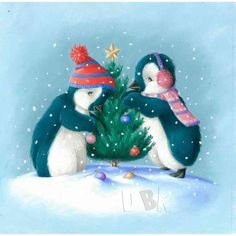 """Any type of pet. IS """"Family"""" Noel Christmas, Christmas Animals, Christmas Pictures, All Things Christmas, Winter Christmas, Vintage Christmas, Christmas Greeting Cards, Christmas Greetings, Penguin Illustration"""
