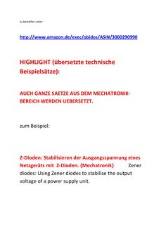 translator german english dictionaries for Mechatronics Technician Electronics Technician for Automation Technology