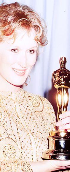 "Meryl Streep 1983 Best Actress for ""Sophie's Choice"" Academy Award Winners, Oscar Winners, Academy Awards, Meryl Streep, Grace Gummer, Sophie's Choice, Oscar Night, Oscar Dresses, Helen Mirren"