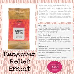 HANGOVER RECOVERY RELIEF All MIXD Up - Effect  A unique and settling blend of essential oils and magnesium sulfate. Sober up next time you need a little relief. Put a scoop of our fragranced sea salt in your bath, toss some on the floor of your shower, or even use a bit to scrub skin. Enjoy it alone or mix it up!