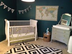 """Welcome to our sweet baby boy's teal and citron """"adventure"""" themed nursery!When putting this babe's little place together I was totally inspired by a rustic explorer/travel …"""