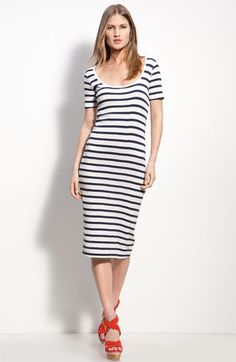 I've been looking for a nautical style dress like this! French Connection Stripe Knit Midi Sheath Dress, $88.