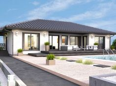 Modern Bungalow House Plans, Modern Bungalow Exterior, Contemporary House Plans, Four Bedroom House Plans, My House Plans, Home Building Design, Building A House, Swimming Pool Architecture, Architect Design House