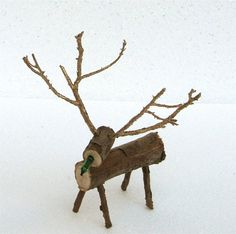 Rustic Small Wooden Reindeer // Christmas Decor, Holiday Gift, Christmas Gift…
