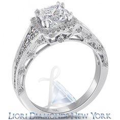 3.04 Ct. F-VS2 Princess Cut Diamond Engagement Ring 18k Pave Halo Vintage Style - Pave Halo Engagement Rings - Engagement - Lioridiamonds.com
