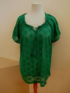 New Chico's Top 3 Vivid Green Circle Embroidered Short sleeve Sheer Tie Scoop  #Chicos #Tunic #Casual #SaveonYourStyle