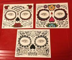 Day of The Dead Sugar Skull Costume Face Mask Halloween Tattoos | eBay