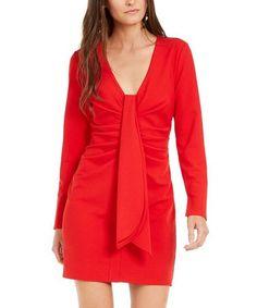 Dark Red Drape-Front Sheath Dress - Women #zulily #zulilyfinds Sheath Dress, Wrap Dress, Holiday Party Dresses, Night Looks, Dark Red, Blazer, Jackets, Detail, Store