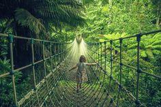 Brücke zu den verlorenen Gärten The Lost Gardens of Heligan, Cornwall, EnglandDie riesigen Statuen in den Lost Gardens of Heligan entdecken. Mehr Informationen