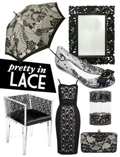 Black lace products as featured on the Adore Home blog. www.adoremagazine.com/blog Home Trends, Chic, Elegant, Luxury, Lace, Pretty, Inspired Outfits, Boards, Corner