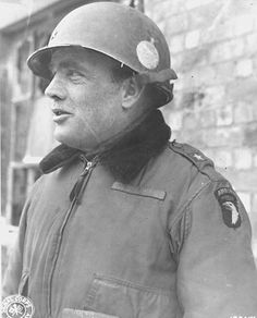 U.S. Brigadier General Anthony McAuliffe, commander of the 101st Airborne Division. During the Ardennes offensive, McAuliffe commanded the garrison of the Belgian town of Bastogne and held against superior German forces until the town was relieved.