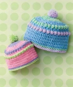 "Baby Bobbles Hat. / SO CUTE BUT THEY NEED TO BE MORE ""ROUNDED"" AT THE TOP, THEY KINDA ""SQUARE OUT?""  BUT LOVE THE IDEA AND THE COLORS TO BE SURE!"