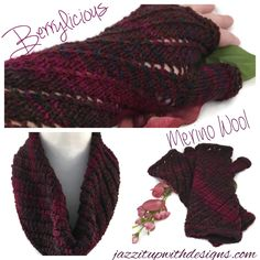 Cross Partners in Promotion Team: Berry Wine Cowl and Fingerless Glove set Merino Wool Twisted pattern