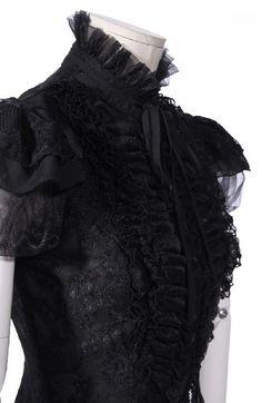 Chemise noire en dentelle avec manche bouffante et effet jabot RQBL   Shop : www.rqbl.com