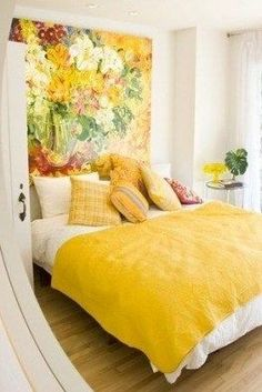 If you want to go bohemian for small spaces, you can do it smartly. Avoid textures that have a large concentration of bright colours. Home Bedroom, Bedroom Decor, Bedroom Ideas, Bedroom Artwork, Bedrooms, Deco Design, Decorating Small Spaces, New Room, Cozy House