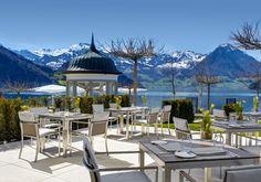Park Hotel Vitznau (cake on the terrace), Lake Lucerne, Switzerland