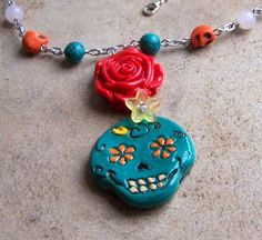 Red Rose Sugar Skull Day of the Dead Necklace Gemstone Halloween