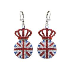 Union Jack and Crown Drop Earrings